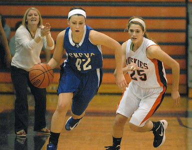 Geneva's Abby Novak makes a break downcourt in the Vikings' 43-32 win over Naperville North in Naperville on Saturday, Dec. 15, 2012.  Bill Ackerman — backerman@shawmedia.com