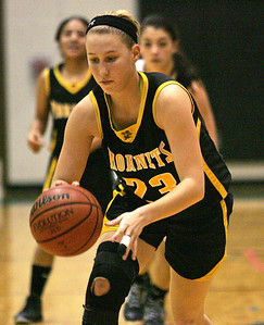 Monica Maschak - mmaschak@shawmedia.com Harvard's Sam McCloud maintains control of the ball during a game at Woodstock North High School on Monday, December 3, 2012.  The Thunder beat the Hornets 43-24.