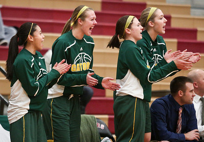 Josh Peckler - Jpeckler@shawmedia.com Members of the Crystal Lake South basketball team cheer after scoring a point during the first quarter at Huntley High School Tuesday, December 11, 2012.