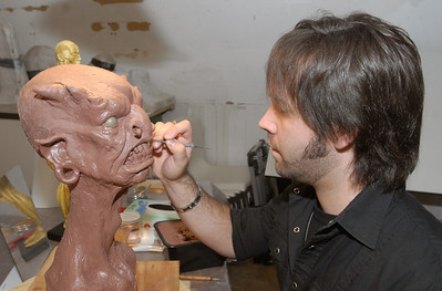 J. Anthony Kosar sculpts a creature in his Westmont studio on Monday, Dec. 31, 2012. Kosar is a special effects artist and prop maker who also holds classes at his Kosart Effects Studios. He will appear on a upcoming reality/competition television show. Bill Ackerman — backerman@shawmedia.com
