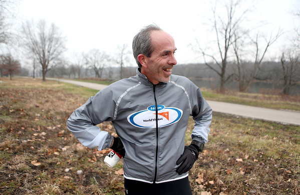 St. Charles resident Steve Spear is training to run 3,200 miles from Los Angeles to New York to raise money for World Vision, which provides safe drinking water in Africa. Spear will begin his run April 1.(Sandy Bressner photo)