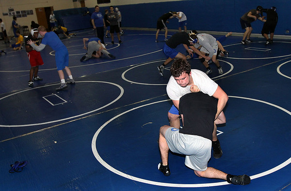 Geneva senior 195-pound wrestler Jake Boser during Monday's practice. (Jeff Krage photo for the Kane County Chronicle)