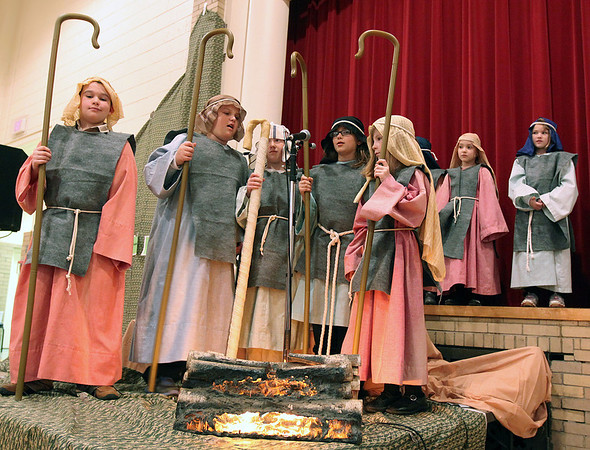 "Bethany Lutheran Sunday School students perform ""Shepherds, Sheep, and a Savior"" inside the gymnasium on Sunday. (Jeff Krage photo for the Kane County Chronicle)"