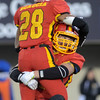 Erica Benson-ebenson@shawmedia.com<br /> Batavia's Anthiny Scaccia and Anthony Moneghini react to their 1st place state championship during their game against Richards in DeKalb Saturday November 16 2013. Batavia defeated Richards 34/14 for 1st place.