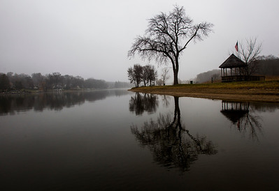 Kyle Grillot - kgrillot@shawmedia.com  A foggy Fox River at Picnic Grove Park Wednesday in Fox River Grove.