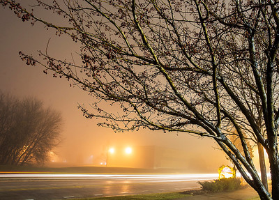 Kyle Grillot - kgrillot@shawmedia.com  Cars pass through fog on Three Oaks Road Tuesday in Crystal Lake.