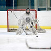 Fox Valley Hawks goalie Aaron Karkos makes a save during practice at the Fox Valley Ice Arena in Geneva Monday afternoon.