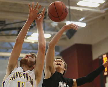 Brett Moist/ for the Northwest Herald    Woodstock North's Josh Jandron knocks the ball out of the hands of Wauconda's Ricky Sidlowski during the 4th quarter of their day one matchup of the  64th annual E.C. Nichols basketball tournament at Marengo High School on Saturday.