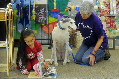 "Tania Fernandez, 6, of Wacaunda, Il. reads to Dixie the Greyhound and her owner Carole Hansen, of Power Lakes, Wis., during the 4 Greyhound Racers adoption drive. Dixie is trained therapy dog that travels to nursing homes and libriaies to have people read to her. "" She doesn't judge if a kid is struggling while reading,"" says Hansen, ""It's amazing to see the kids become better readers the more they read with Dixie."""