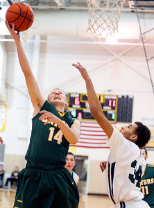 Sarah Nader- snader@shawmedia.com Crystal Lake South's Caleb Johnson (left) is guarded by Bartlett's Jordan Anderson while he shoots during the first quarter of Thursday's game at the Hinkle Holiday Classic at Jacobs High School December 26, 2013. Crystal Lake South won, 46-43.