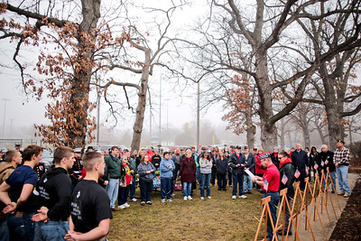 Michelle LaVigne/ For Shaw Media A crowd gathers in front of the McHenry VFW post 4600 for a wreaths across America ceremony in McHenry, Ill. on Saturday December 12, 2015 prior to placing wreaths on the graves of veterans in the St. Mary of the Assumption Church, Woodlawn and Johnsburg Baptist Church cemeteries.
