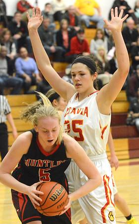 Mark Busch - mbusch@shawmedia.com<br /> Batavia's Hannah Frazier plays tough defense during their game against Huntley at the 7th annual Montini Girls Basketball Christmas Tournament Tuesday Dec. 29.