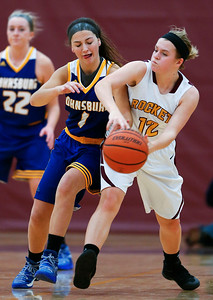 Ava Interrante (1) of Johnsburg tries to steal the ball from Anna Vlasak (12) of Richmond-Burton during the second quarter of their game at Richmond-Burton High School  on Tuesday, December 6, 2016 in Richmond. The Skyhawks defeated the Rockets 40-24. John Konstantaras photo for the Northwest Herald