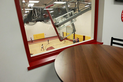 Candace H. Johnson-For Shaw Media Table and chairs are available in the upstairs lobby for parents to watch their kids during practice at the Volo Sportsplex in Volo. The McHenry County Juniors Volleyball players were practicing in the gym.