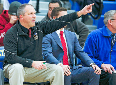Johnsburg head coach Mike Toussaint during the fourth quarter of their game at Johnsburg High School on Friday, December 8, 2017 in Johnsburg, Illinois. John Konstantaras photo for Shaw Media