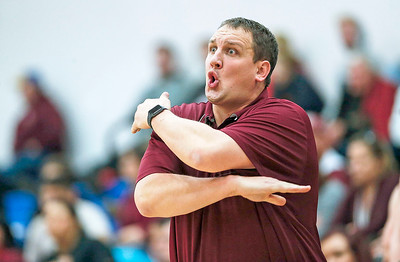 Marengo head coach Nathan Wright yells to his team not to foul during the second quarter of their game against Johnsburg on Friday, December 8, 2017 in Johnsburg, Illinois. John Konstantaras photo for Shaw Media