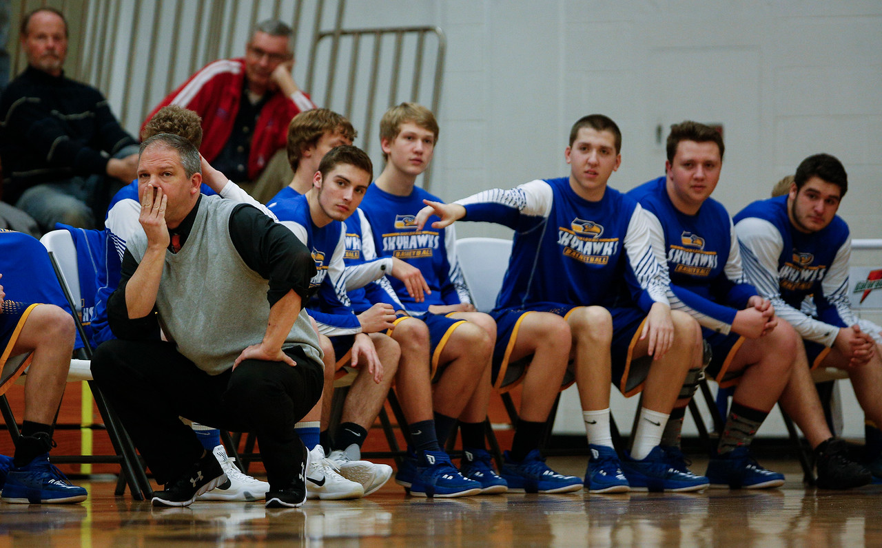 Johnsburg head coach Mike Toussaint watches his team in the second quarter against Bartlett the Hinkle Holiday Classic at Jacobs High School on Friday, December 22, 2017 in Algonquin, Illinois. The Hawks defeated the Skyhawks 63-51. John Konstantaras photo for Shaw Media