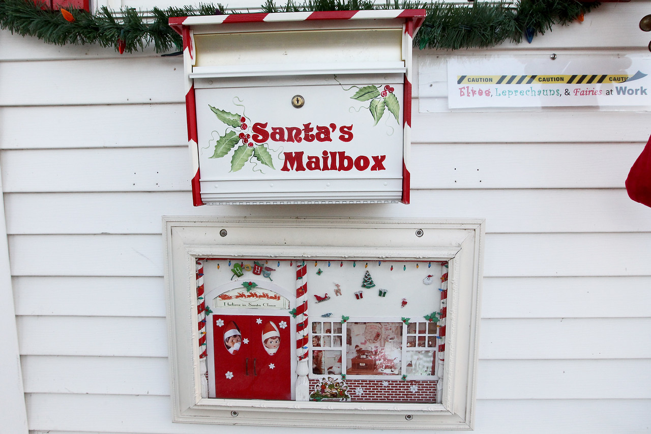 Candace H. Johnson-For Shaw Media Below Santa's mailbox sits the Elves Magic Door to help the Elves get into the Santa House to take care of it when Santa is not there at Millennium Park in Fox Lake. (12/23/17)