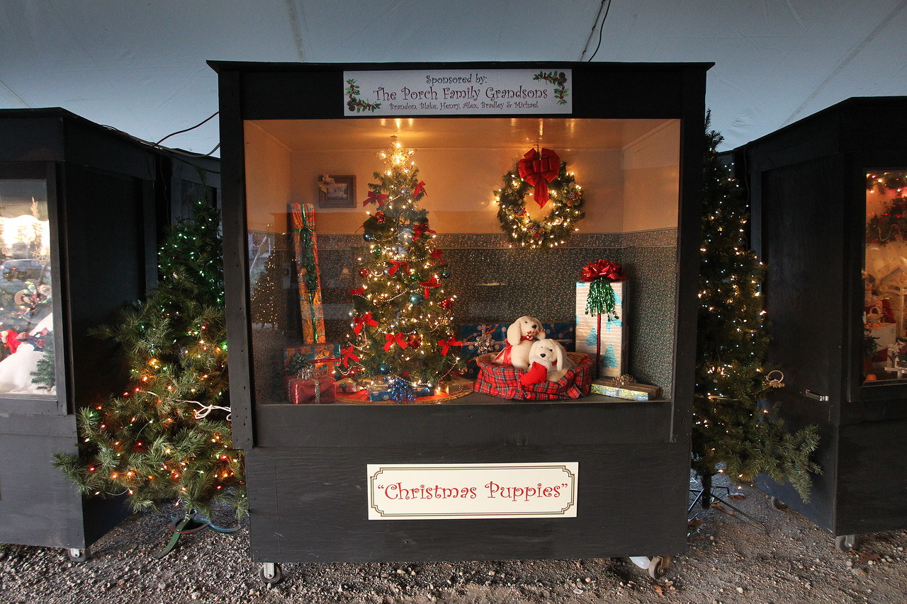 """Candace H. Johnson-For Shaw Media The """"Christmas Puppies"""" oversized shadow box was on display at the Kringle's Christmas Village in downtown Antioch. (12/23/17)"""