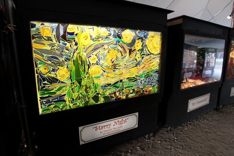 """Candace H. Johnson-For Shaw Media An oversized shadow box showing a reproduction of Van Gogh's """"Starry Night"""" was on display at the Kringle's Christmas Village in downtown Antioch. (12/23/17)"""