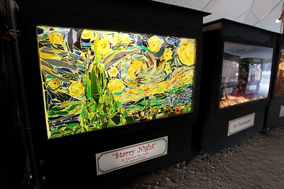 "Candace H. Johnson-For Shaw Media An oversized shadow box showing a reproduction of Van Gogh's ""Starry Night"" was on display at the Kringle's Christmas Village in downtown Antioch. (12/23/17)"