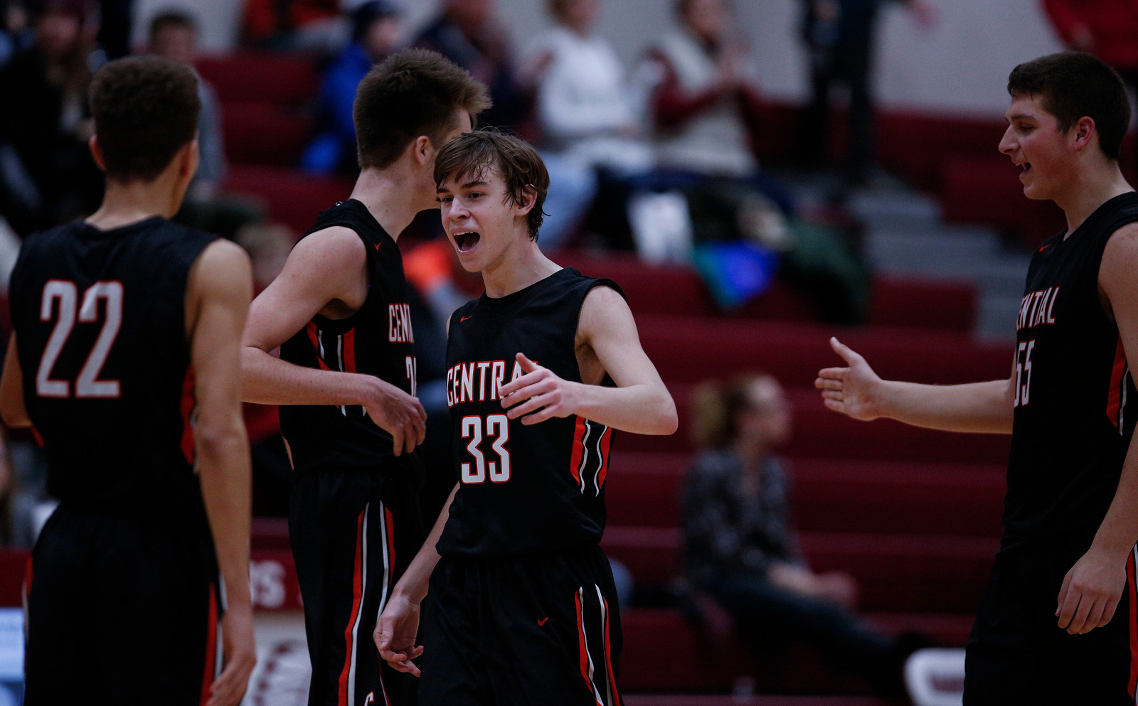Christian Lerum (33) from Crystal Lake Central celebrates their championship win over Marengo in the E.C. Nichols Holiday Classic at Marengo High School on Friday, December 29, 2017 in Marengo, Illinois. The Tigers defeated the Indians 72-57. John Konstantaras photo for Shaw Media