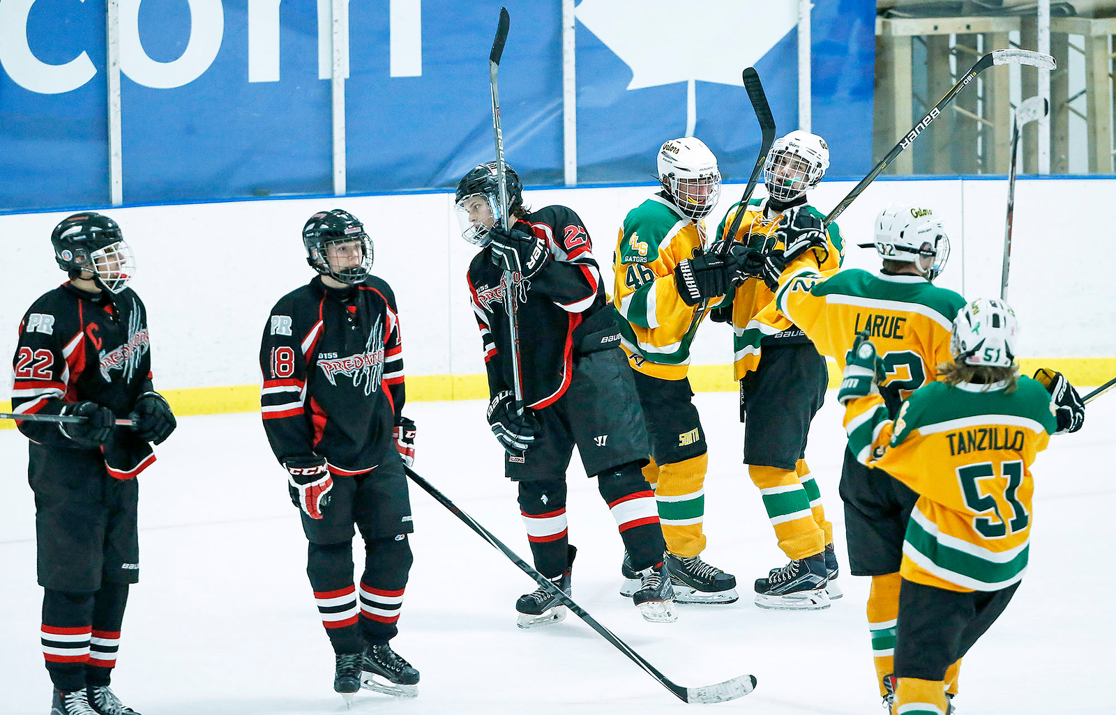 Midas Bacidore (46) from Crystal Lake South celebrates the game tying goal during the third period of their game against D155 at the Leafs Ice Center on Sunday, December 10, 2017 in West Dundee, Illinois. The game ended in a 3-3 tie. John Konstantaras photo for Shaw Media