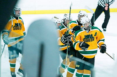 Michael Helm (9) from Crystal Lake South celebrates his goal during the third period of their game against D155 at the Leafs Ice Center on Sunday, December 10, 2017 in West Dundee, Illinois. The game ended in a 3-3 tie. John Konstantaras photo for Shaw Media