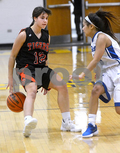 Wheaton Warrenville South junior Mira Emma dribbles around her back to keep the ball away from Wheaton North senior Sophie Ahlberg during their game Nov. 30 at Wheaton North High School. Mark Busch - mbusch@shawmedia.com