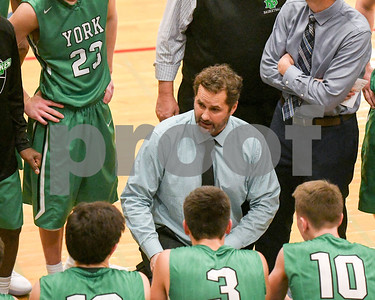 York head coach Vince Doran talks to his players during the game against West Aurora Dec. 9 at West Aurora High School. David Toney - For Shaw Media