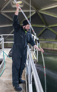 Jim Magnum checks the clarifier balance at the Marengo Waste Plant Friday, November 30, 2018 in Marengo. KKoontz – For Shaw Media