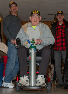Ralph Coules, Combat Veteran, Age 68, Viet Nam, Army 1970-1972 (14th Infantry) takes his new scooter for a test drive around the American Legion Post 491 Saturday, December 1, 2018 in McHenry. Through the efforts of Missy's Veterans of Valor, an organization who helps to fulfill the needs of veterans, Coules received a new electric scooter valued at $4000.00 donated by The Leopardo Group located in Chicago.