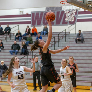Crystal Lake Central's Cori Hamill sinks a lay-up against Prairie Ridge Tuesday, December 4, 2018 in Prairie Grove. Hamill finished with 12 points against PR in the 48-35 victory. KKoontz – For Shaw Media
