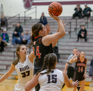 Crystal Lake Central's Maddie Haslow goes up for a shot against Prairie Ridge Tuesday, December 4, 2018 in Prairie Grove. Haslow led all scoring finishing with 13 points in the 48-35 victory over PR.  KKoontz – For Shaw Media