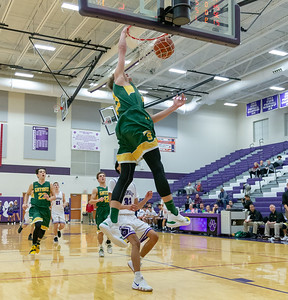 Crystal Lake South's Casey Haskin finishes a fast break with a dunk against Hampshire Wednesday, December 5, 2018 in Hampshire. South kept it close most of the game however Hampshire pulled away at the end winning 61-55. KKoontz – For Shaw Media