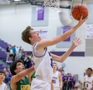 Hampshire's Nicholas Erickson drives baseline and nails the reverse layup against Crystal Lake South Wednesday, December 5, 2018 in Hampshire. Hampshire went on to take the victory 61-55. KKoontz – For Shaw Media
