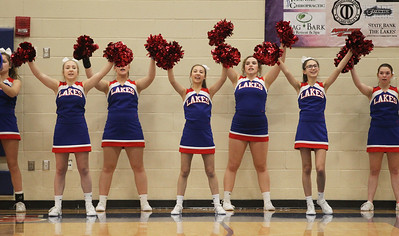 Candace H. Johnson-For Shaw Media The Lakes cheerleaders cheer for the girls varsity basketball team as they play Wauconda in the second quarter at Lakes Community High School in Lake Villa. (12/4/18)