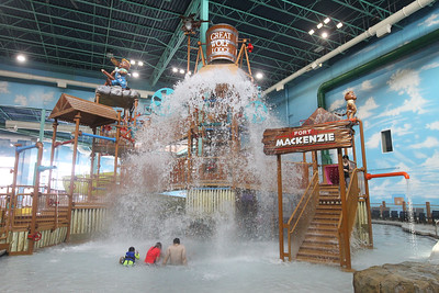 Candace H. Johnson-For Shaw Media Guests gets wet as a bucket full of water comes down at Fort Mackenzie in the indoor water park at the Great Wolf Lodge in Gurnee.(11/30/18)