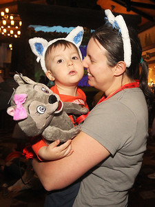 Candace H. Johnson-For Shaw Media Sarah Hester, of Zion holds her son, Steven, 2, as they dance together during the dance party at the Great Wolf Lodge in Gurnee. (12/1/18)