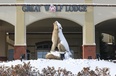 Candace H. Johnson-For Shaw Media The entrance to the Great Wolf Lodge on a snowy day in Gurnee. The lodge has been open since mid-June.
