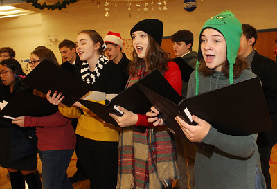 Candace H. Johnson-For Shaw Media Alex Lynch, 17, Meghan Hayman, 18, and Sam Drake, 15, all of Lindenhurst with the Lakes Community High School Chamber Choir sing Christmas carols during the Light Up Your Holiday! Holiday Tree Lighting festivities at the Lindenhurst Park District's Lippert Community Center on Grass Lake Road. (12/1/18)