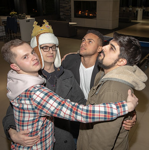 """Local McHenry County College students (L-R) Jacob Alfonso, Luke Hodory, Dylan Rogers, and Jake Berninger take a break from practice and pose for a photo Saturday, December 8, 2018 at the YMCA in Crystal Lake. Their performances in the play """"Sled Hill"""" will be held January 5th and 12th, 2019, at 8:30pm in the de Maat Studio theatre at Chicago's Second City. KKoontz – For Shaw Media"""