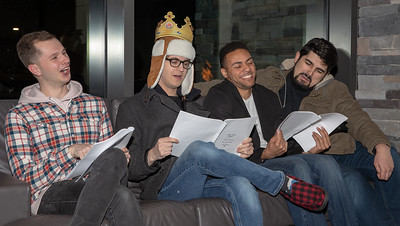 """Local McHenry County College students who wrote, produced and star in the play """"Sled Hill"""" read lines from their play Saturday, December 8, 2018 at the YMCA in Crystal Lake. The performances by (L-R) Jacob Alfonso, Luke Hodory, Dylan Rogers, and Jake Berninger can be seen January 5th and 12th, 2019, at 8:30pm in the de Maat Studio theatre at Chicago's Second City. KKoontz – For Shaw Media"""