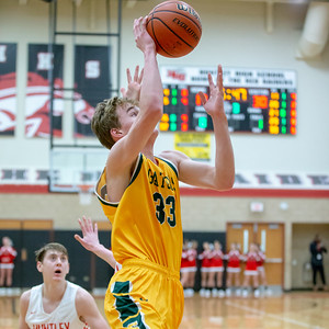 Crystal Lake South's Casey Haskin goes in along the baseline against Huntley Wednesday, December 12, 2018 in Huntley. Crystal Lake South picks up the road win 62-43. KKoontz – For Shaw Media