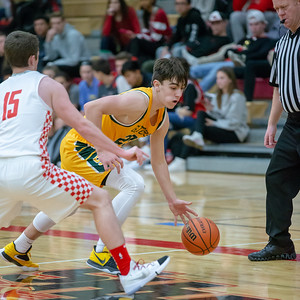 Crystal Lake South's Tyler Miller brings the ball up court against Huntley Wednesday, December 12, 2018 in Huntley. Crystal Lake South picks up the road win 62-43 with Miller and teammate Matt Reall scoring 18 points for the Gators. KKoontz – For Shaw Media