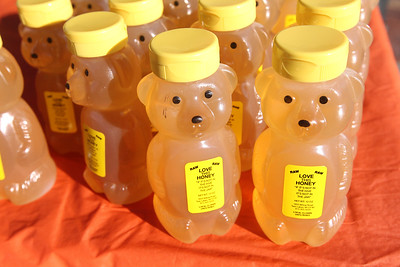 Candace H. Johnson-For Shaw Media Plastic bears filled with raw honey were for sale by Ken Floyd with Love This Honey, out of Twin Lakes, Wisconsin during the Grayslake Farmers Market on Center and Whitney Streets in downtown Grayslake. Next Saturday, December 15th, the market is open from 10-2 pm, the fall market's last day of the season. (12/8/18)