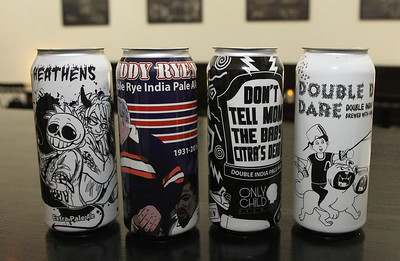 Candace H. Johnson-For Shaw Media Pale ale and double IPA's are sold at the Only Child Brewing Company Brewery & Taproom in Gurnee. The artwork for the cans of beer was created for the brewery by Chris Tankiewicz, of Grayslake.(12/11/18)