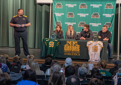 Crystal Lake south head football coach Rob Fontana (Left) speaks at Trevor Keegan's press conference Friday, December 14, 2018 in Crystal Lake. Keegan was the state's top-ranked recruit and had offers from more than 25 division one schools. He committed to play for University of Michigan. KKoontz – For Shaw Media