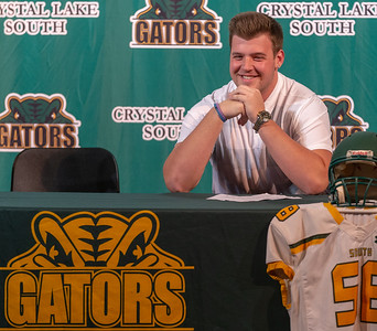 Crystal Lake South offensive lineman Trevor Keegan answers questions at his college press announcement Friday, December 14, 2018 in Crystal Lake. The 6-foot-6 Keegan committed to play football for the Michigan Wolverines.   KKoontz – For Shaw Media