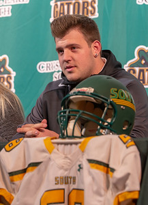 Crystal Lake South offensive lineman Trevor Keegan thanked family, coaches, teammates, and friends at his college press announcement Friday, December 14, 2018 in Crystal Lake. The 6-foot-6 Keegan committed to play for the Michigan Wolverines.   KKoontz – For Shaw Media